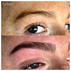 eyebrow brow lamination before and after picture at Nataya Beauty Manchester city centre